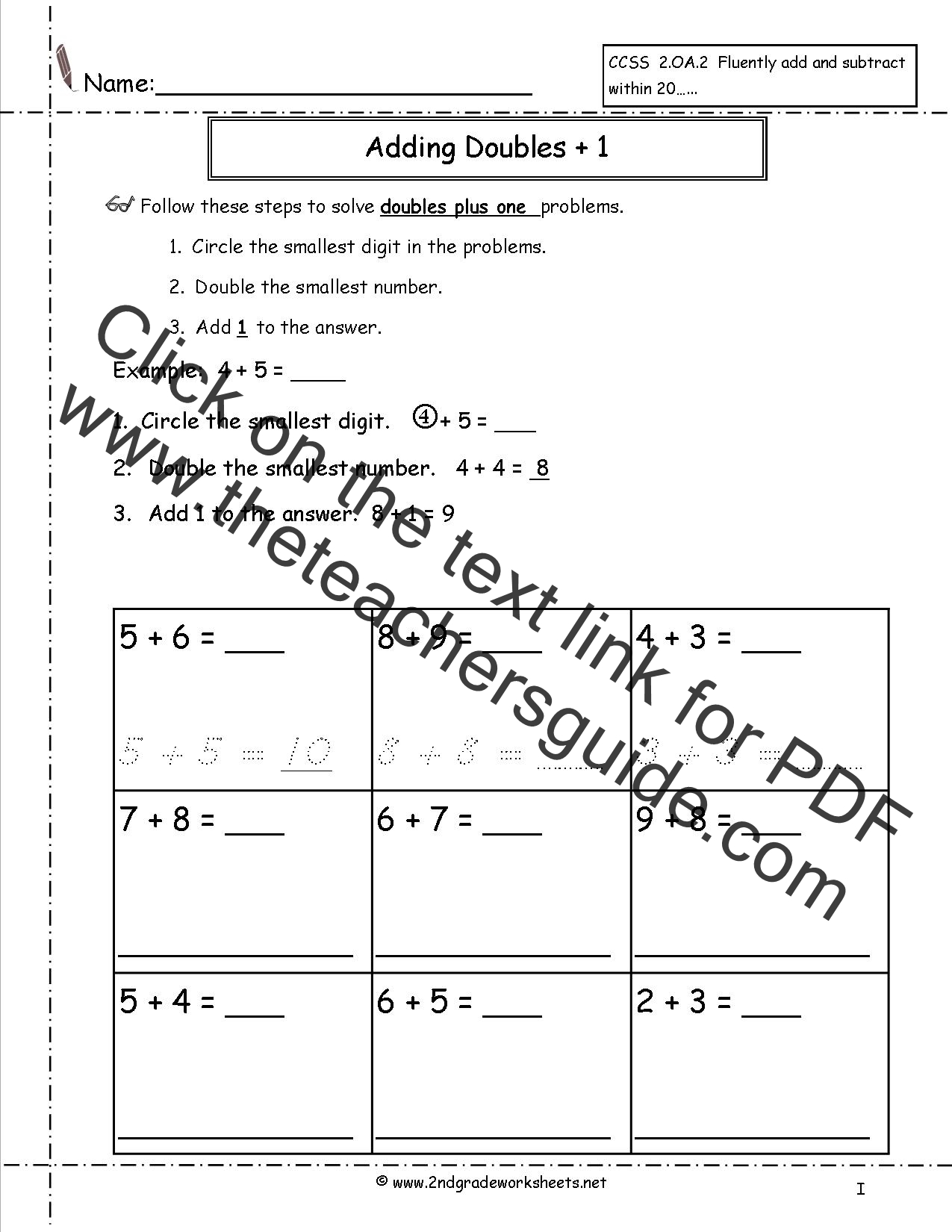 Free Single Digit Addition Worksheets – Doubles Plus One Worksheet