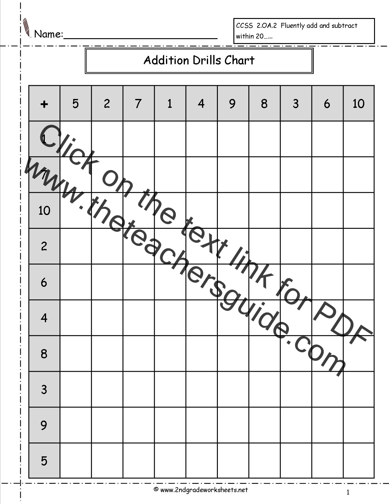 Single Digit Addition Fluency Drills Worksheets – Addition Drill Worksheets