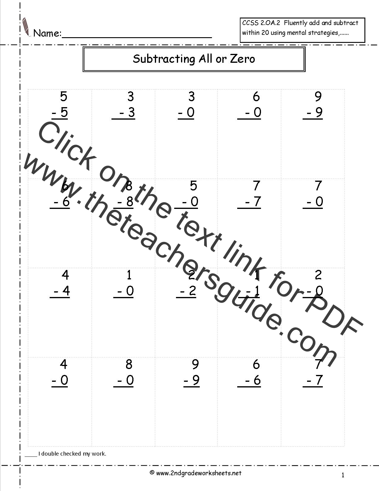 Single Digit Subtraction Fluency Worksheets – Subtracting with Zeros Worksheet
