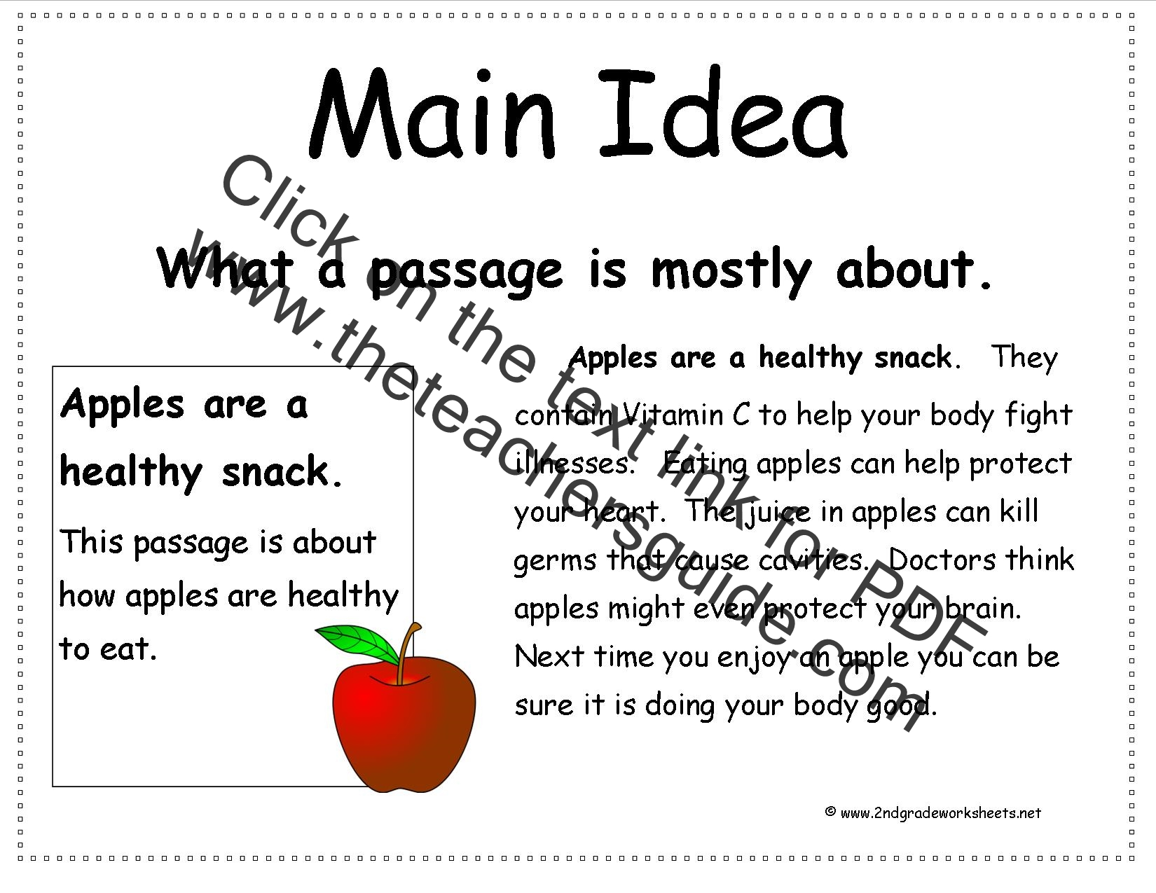 main idea 2nd grade worksheets