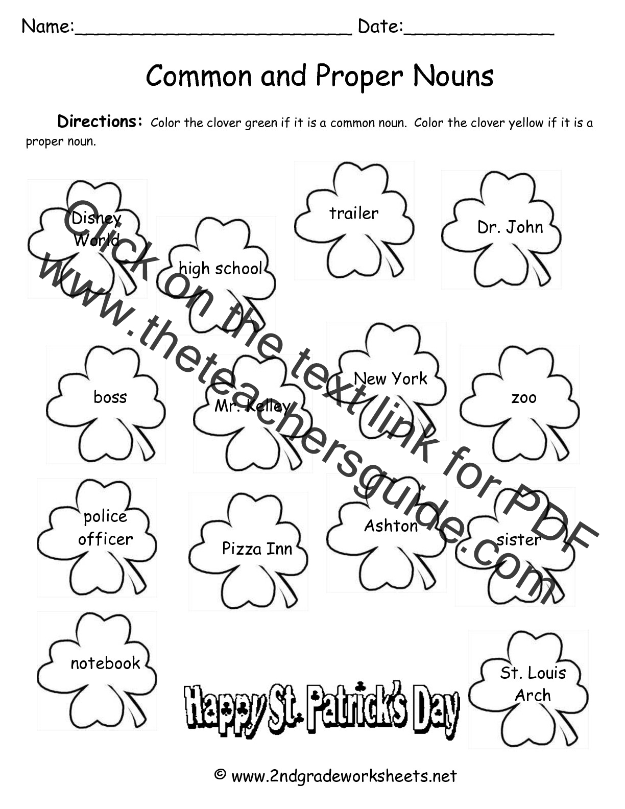 2nd grade coloring sheet - St Patricks Day Worksheet