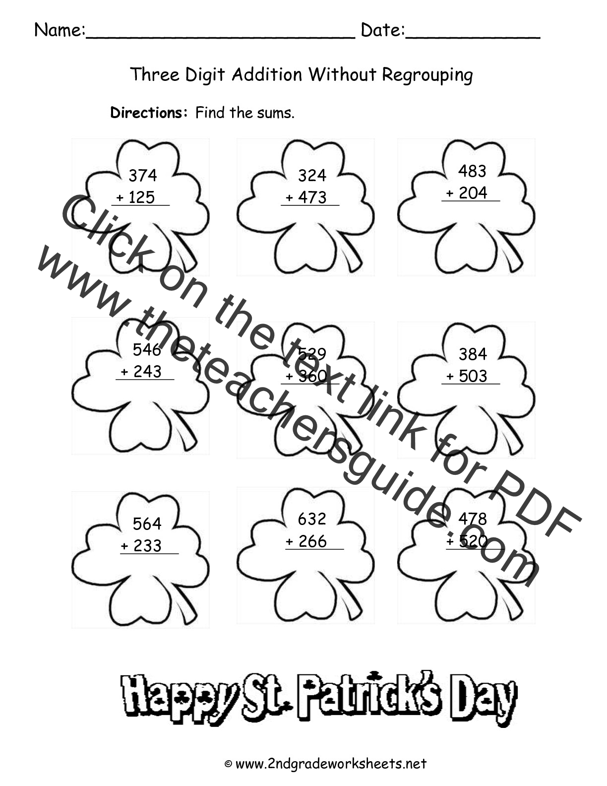 St Patricks Day Printouts and Worksheets – Addition No Regrouping Worksheets