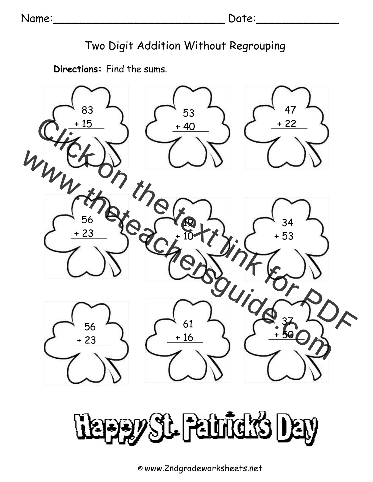 St Patricks Day Printouts and Worksheets – Adding Two Digit Numbers with Regrouping Worksheets