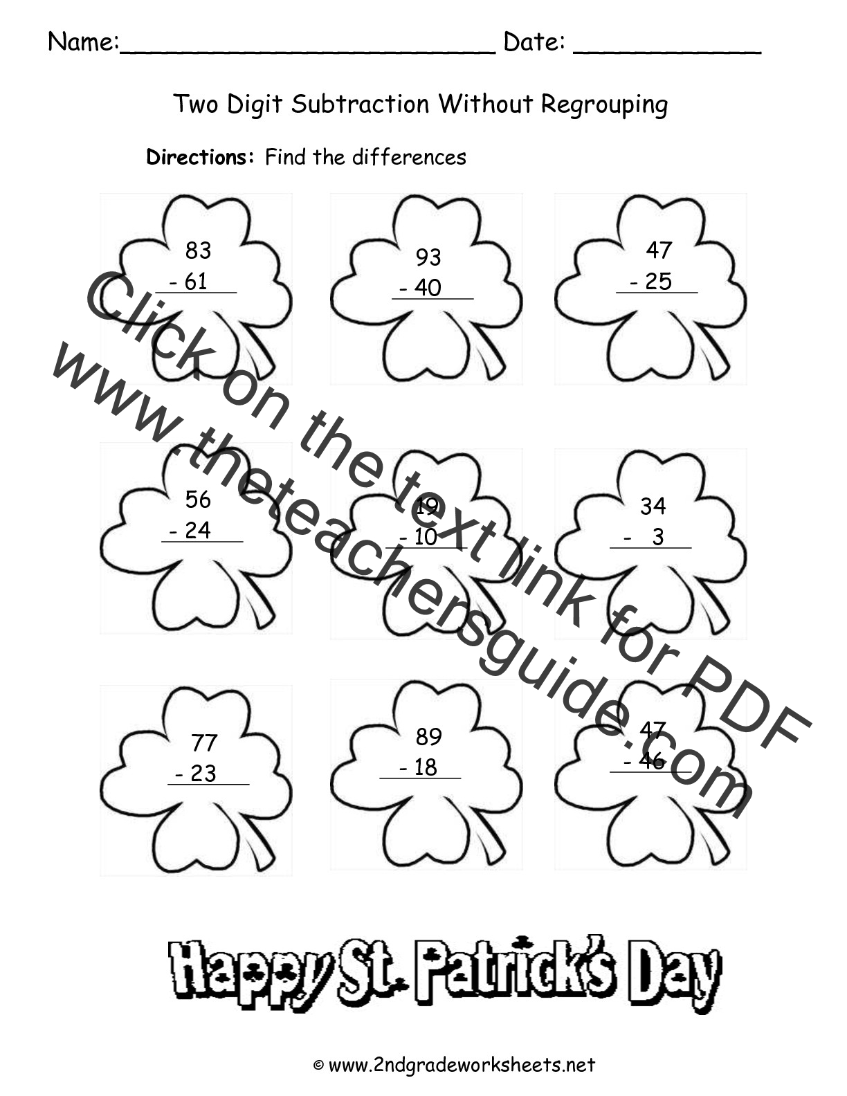 St Patricks Day Printouts and Worksheets – 2nd Grade Subtraction Regrouping Worksheets