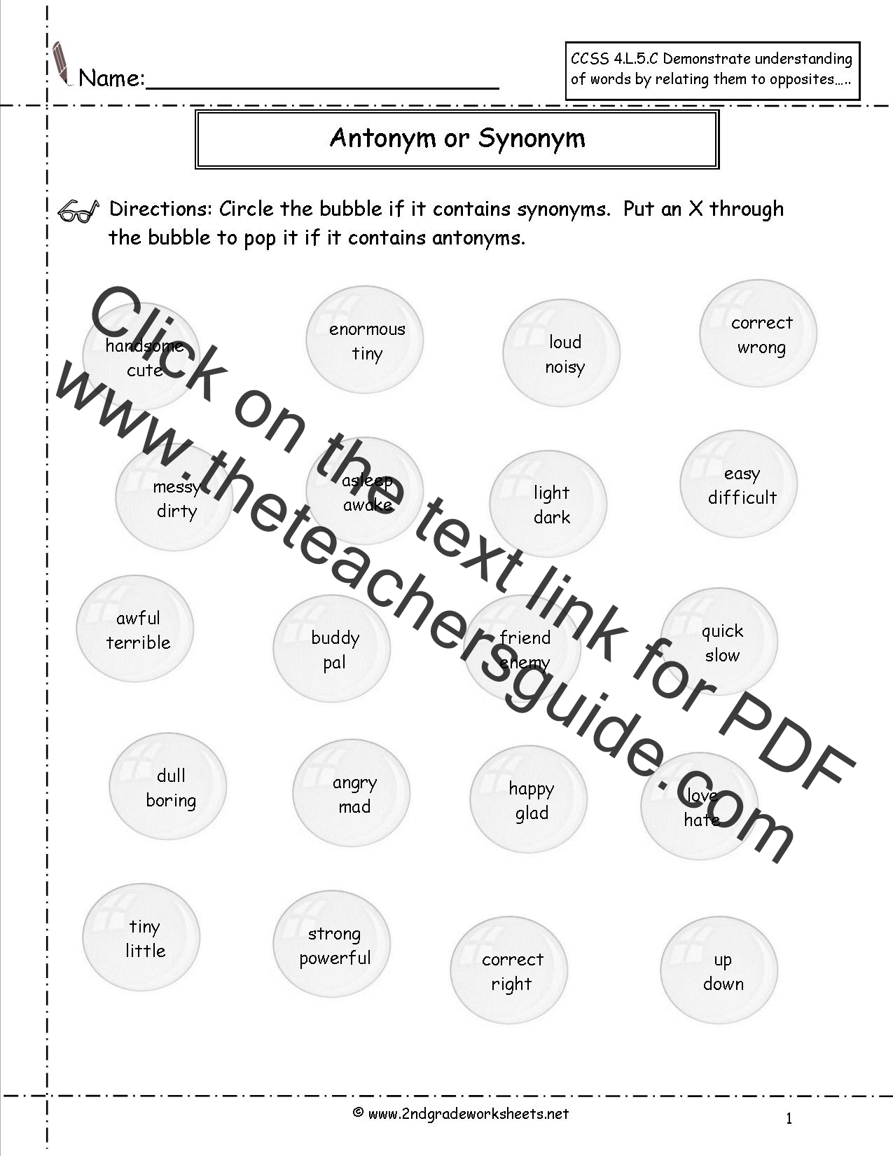 Synonyms and Antonyms Worksheets – Synonym Antonym Worksheet