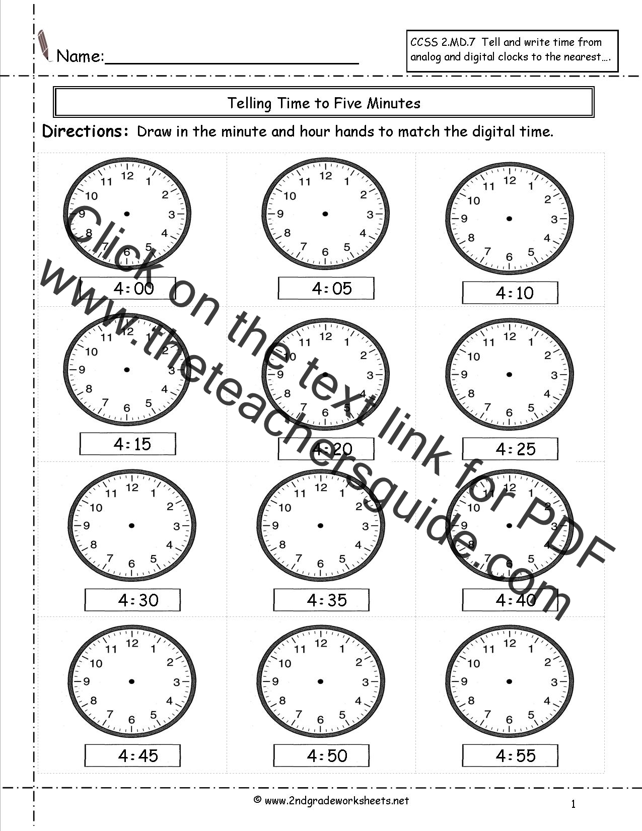 CCSS 2MD7 Worksheets Telling Time to Five Minutes Worksheets – Telling Time to the Quarter Hour Worksheets
