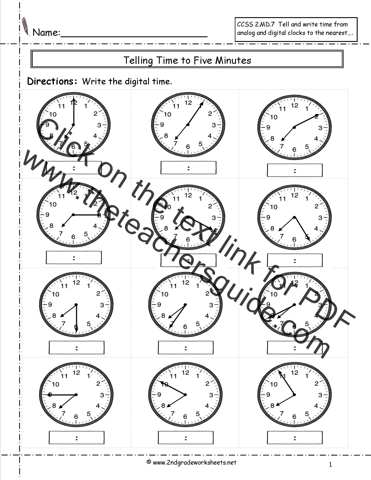 Clock+Worksheets+Grade+2 Pin Telling Time Worksheets 3rd Grade on ...