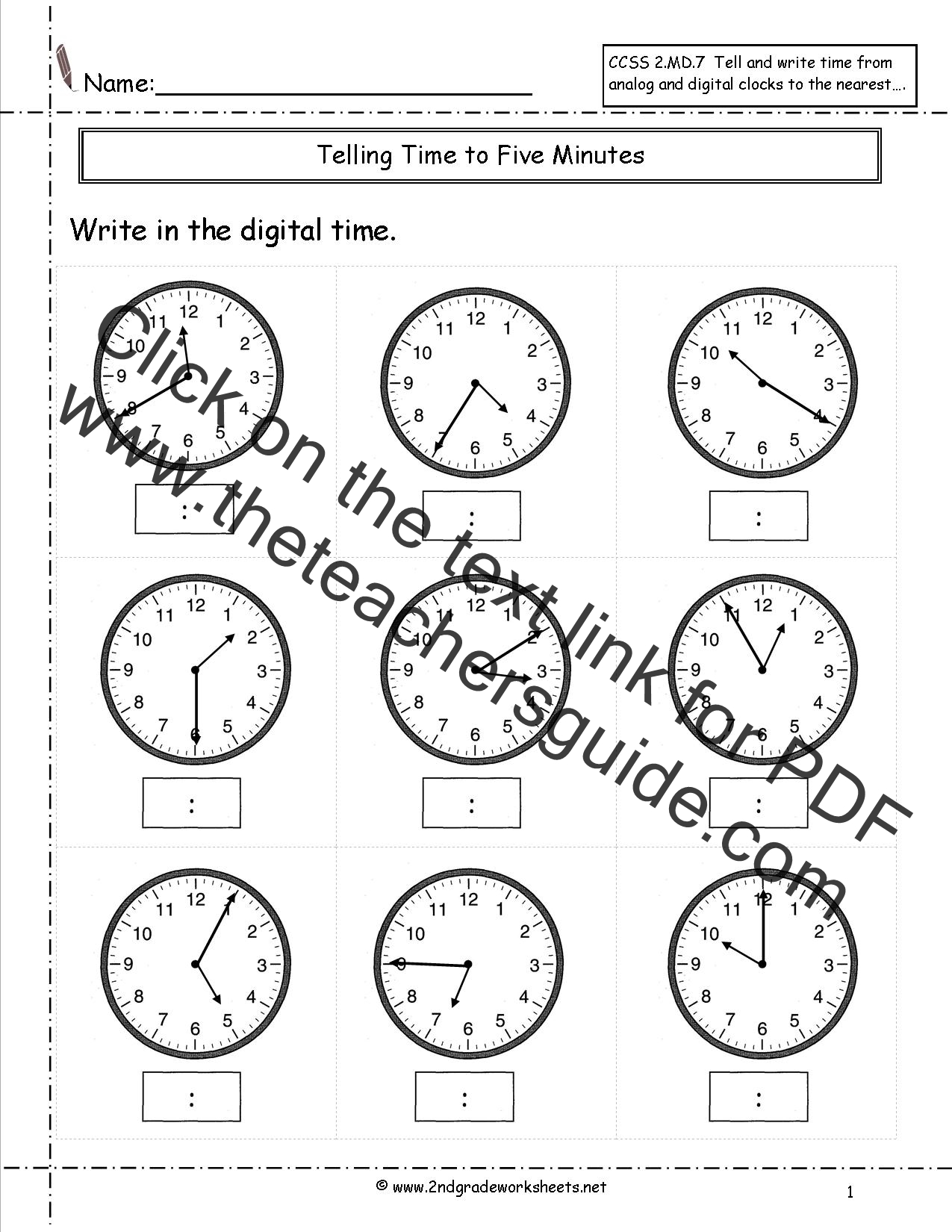 CCSS 2.MD.7 Worksheets, Telling Time to Five Minutes Worksheets