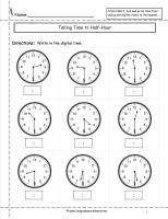 telling time to nearest half hour worksheet