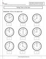telling time to hour worksheet