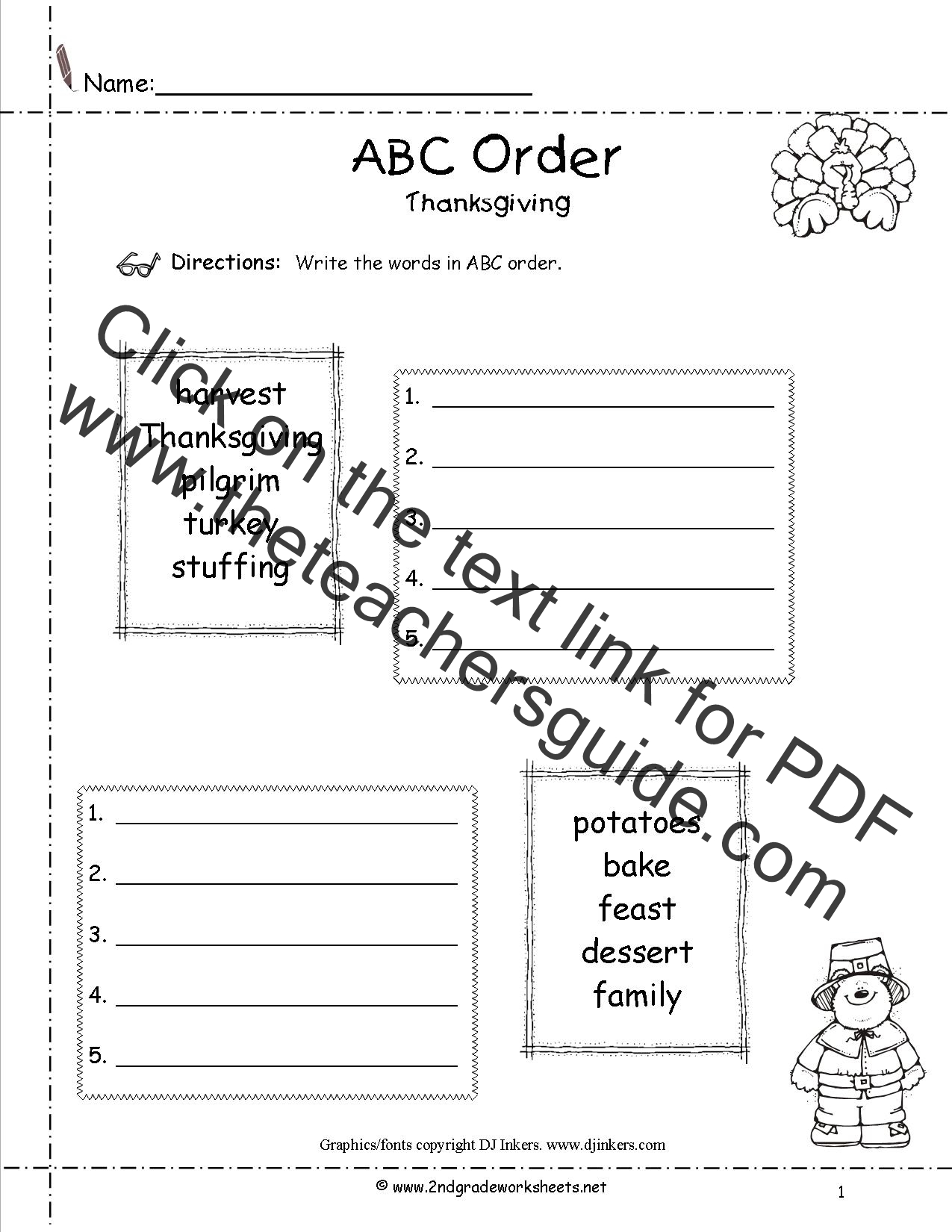Worksheets Abc Order Worksheets 2nd Grade thanksgiving printouts and worksheets abc order worksheet