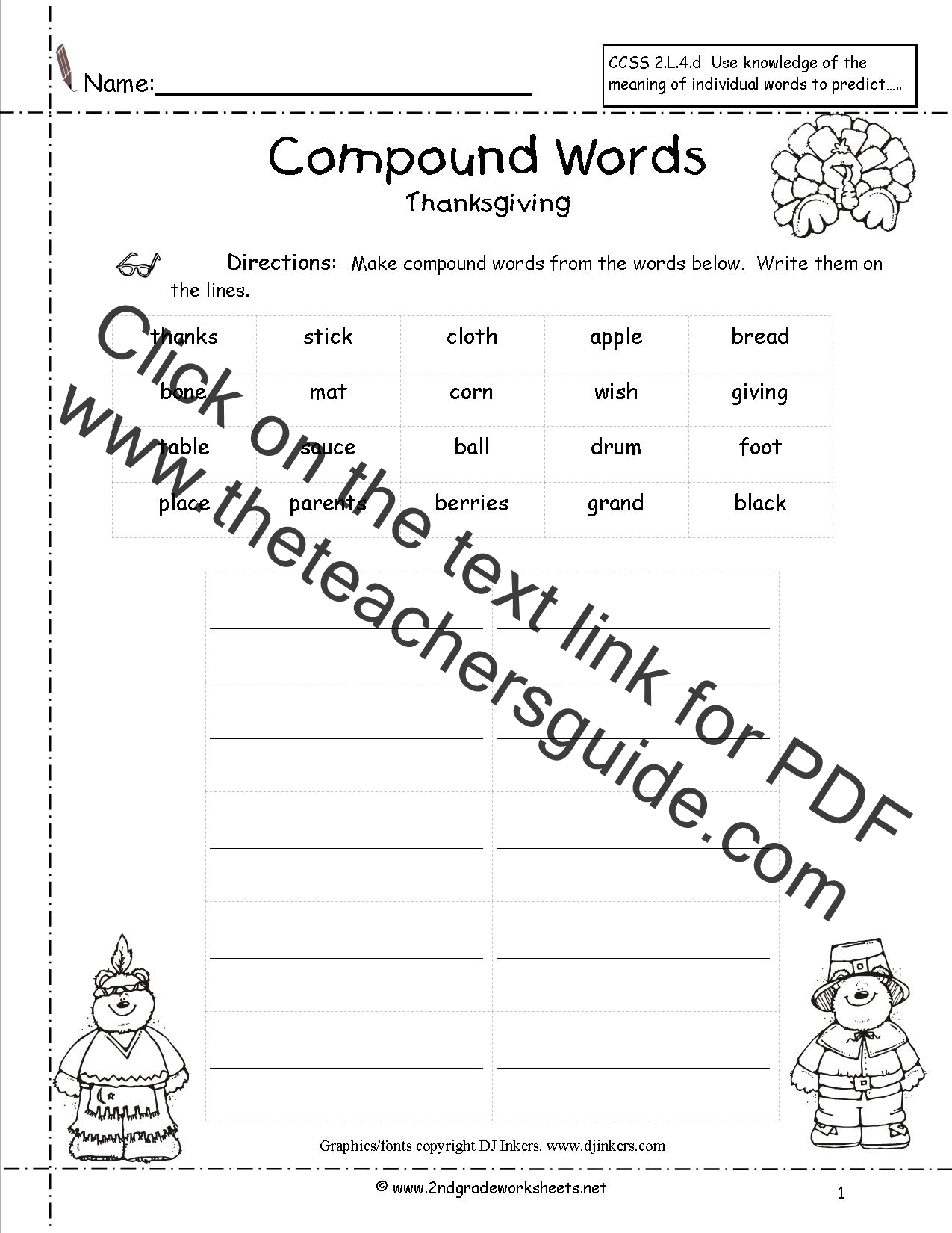 Thanksgiving Printouts and Worksheets – Free Printable Second Grade Worksheets