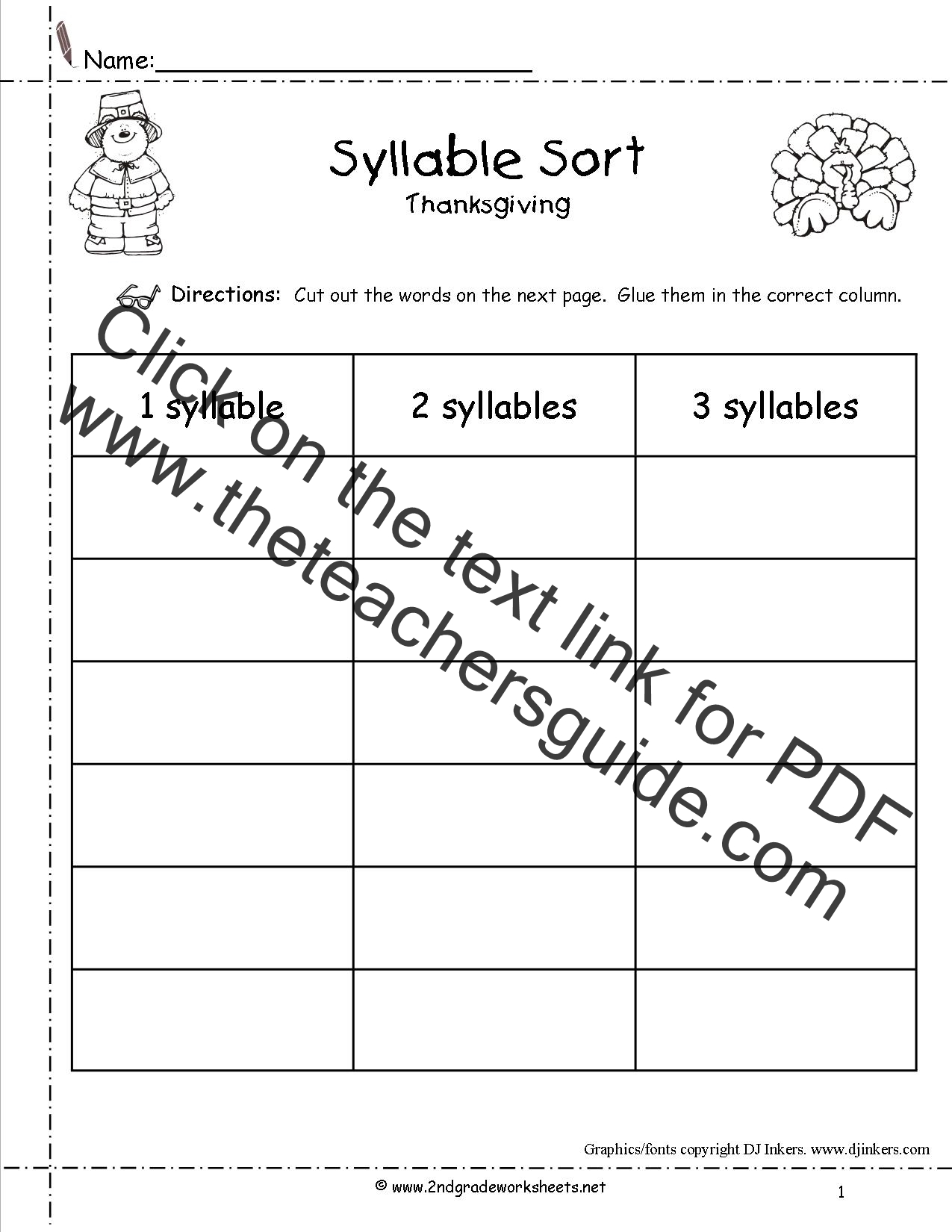 worksheet And Worksheets thanksgiving printouts and worksheets syllable sort worksheet