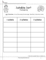 thanksgiving syllable sort worksheet