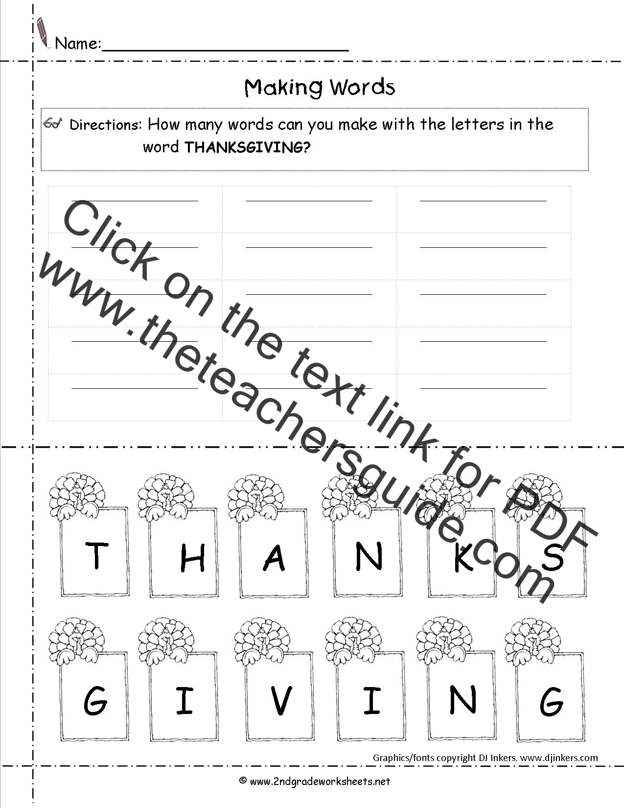 worksheet Thanksgiving Math Worksheets First Grade thanksgiving printouts and worksheets making words worksheet