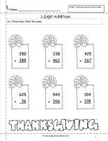 thanksgiving three digit addition worksheet