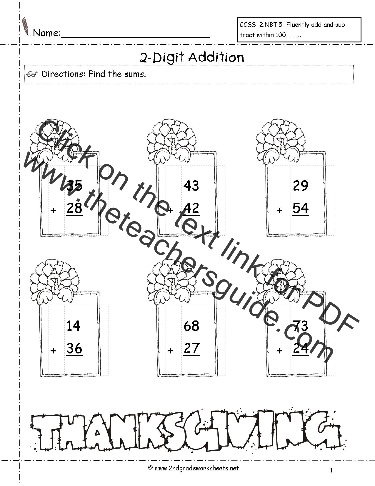 Thanksgiving Printouts and Worksheets – Two Digits Addition Worksheets