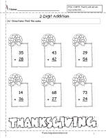 thanksgiving two digit addition worksheet