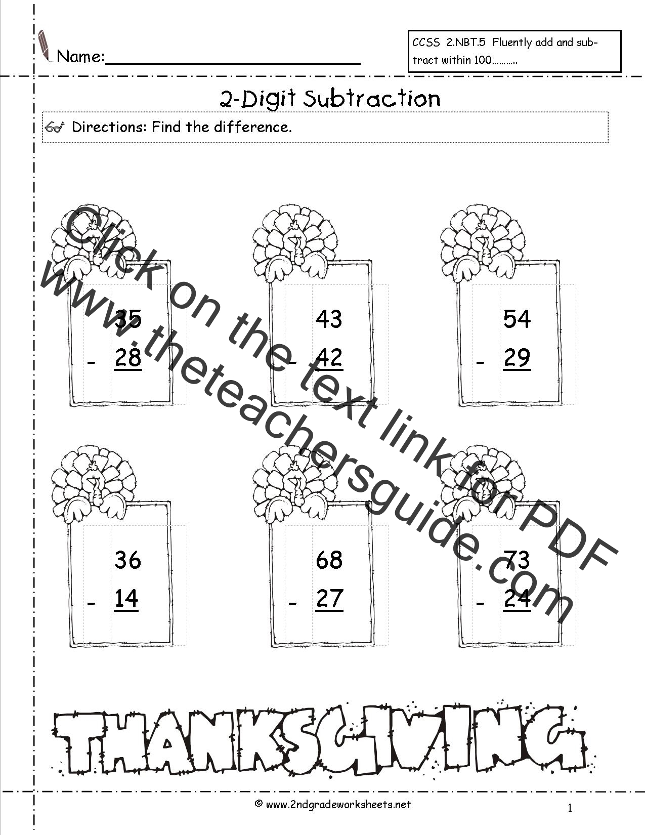 worksheet Thanksgiving Math Worksheet thanksgiving printouts and worksheets two digit subtraction worksheet