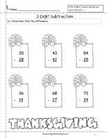 thanksgiving two digit subtraction worksheet