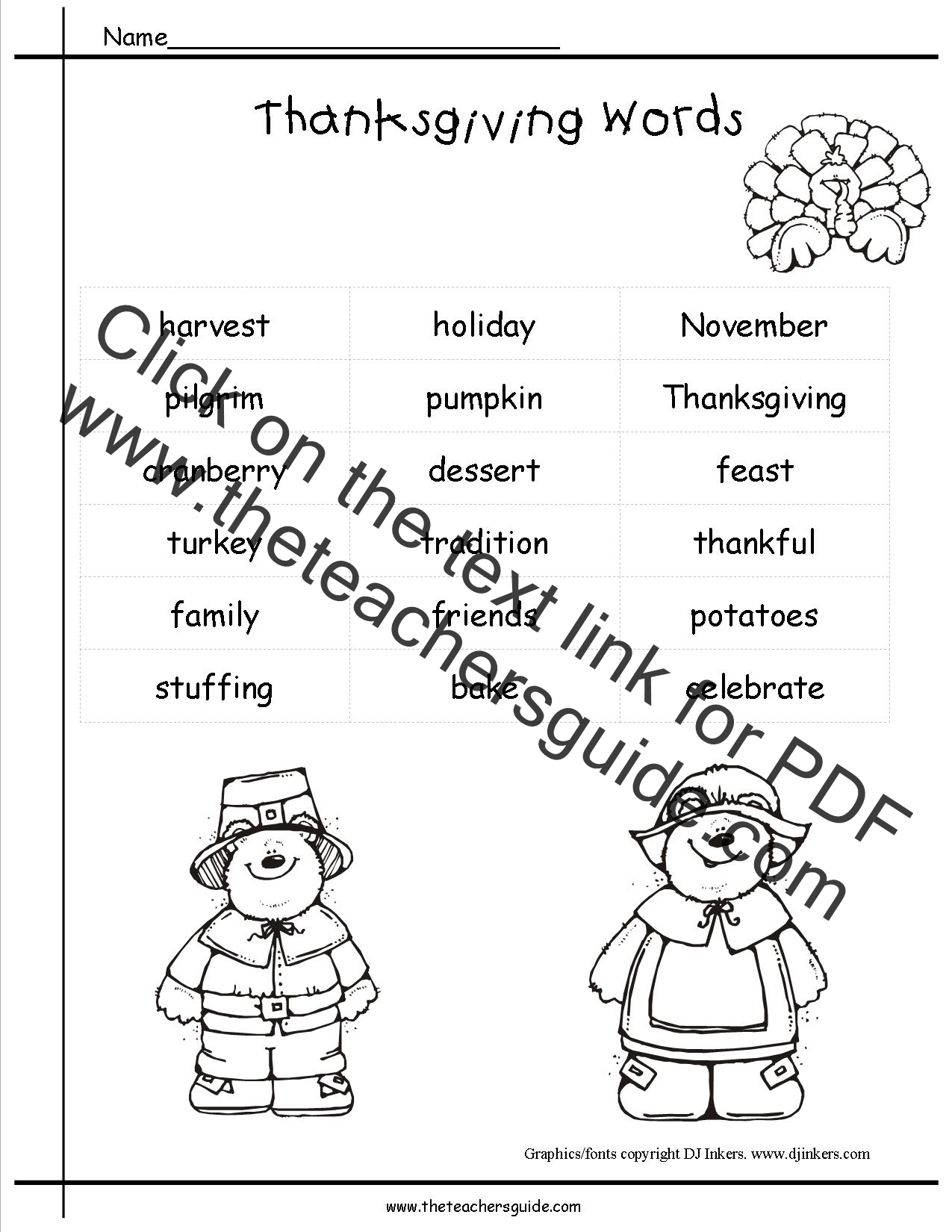 worksheet Thanksgiving Worksheets Free thanksgiving printouts and worksheets word list