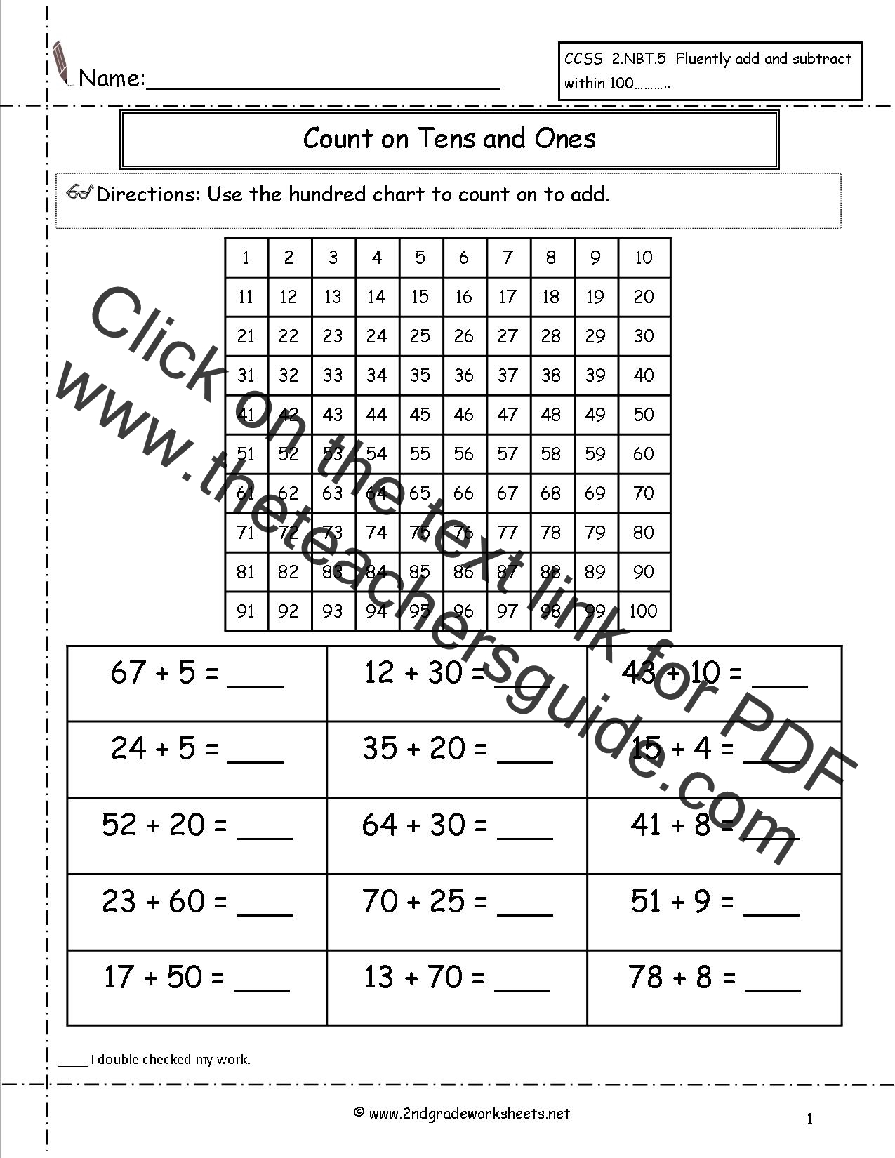Two Digit Addition Worksheets – Adding and Subtracting Tens Worksheets
