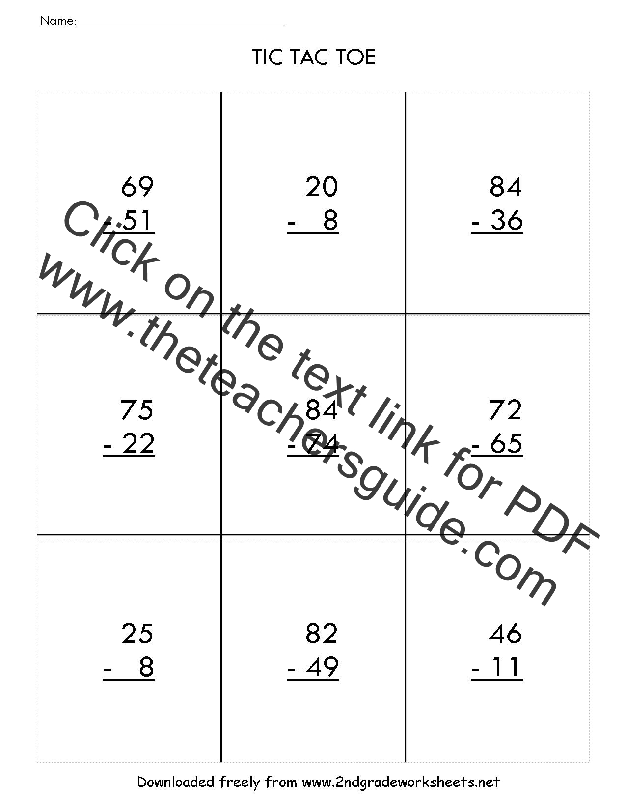 Printables Double Digit Subtraction With Regrouping Worksheets two digit subtraction worksheets tic tac toe