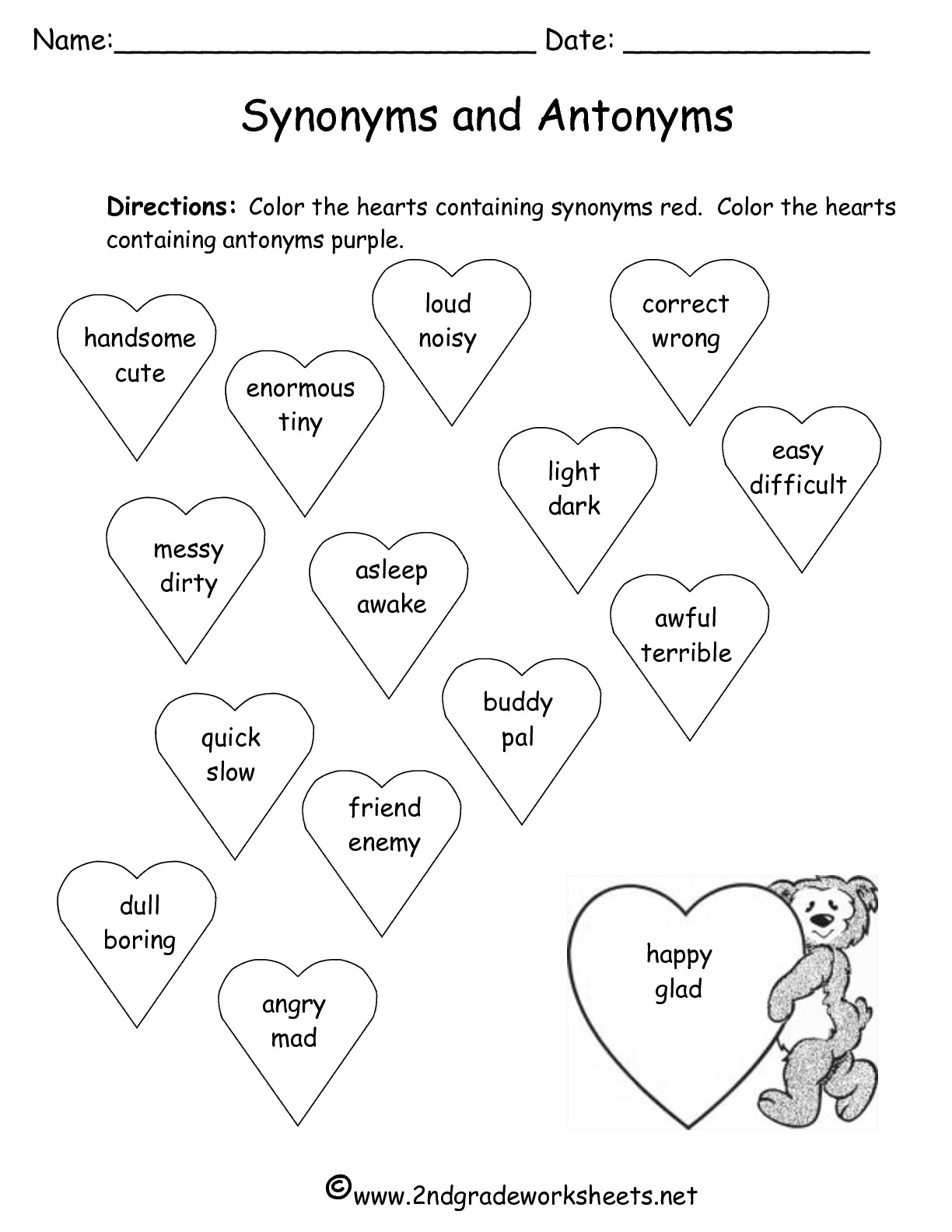 Valentines Day Printouts and Worksheets – Synonym and Antonym Worksheet