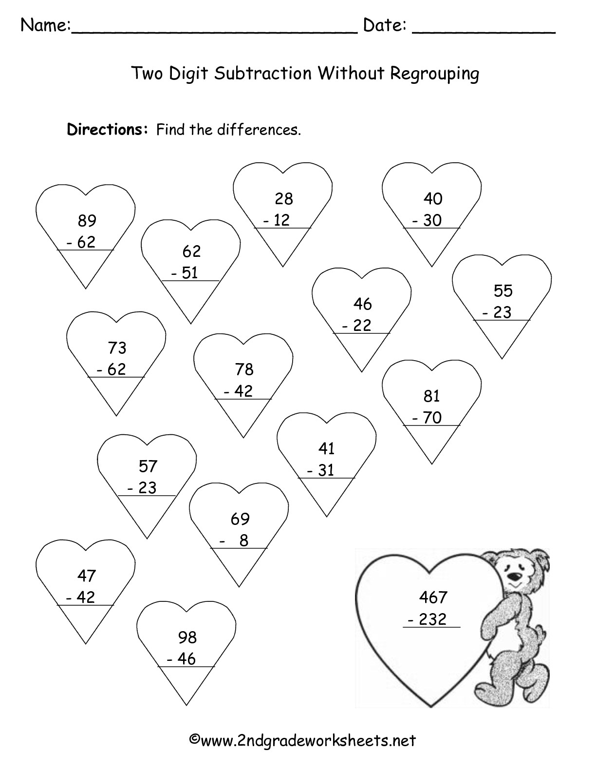 Valentines Day Printouts and Worksheets – Subtraction Without Regrouping Worksheet