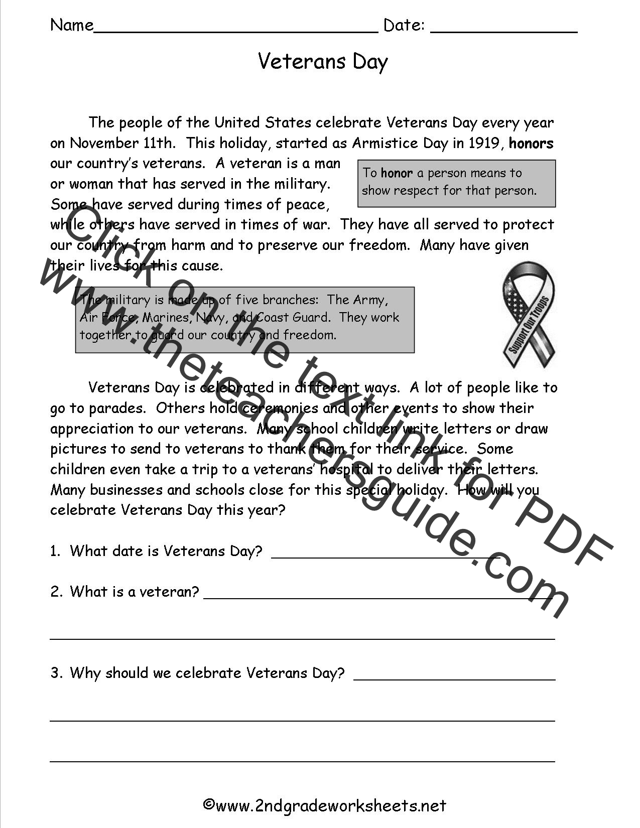 Veterans Day Worksheets – Math Reading Comprehension Worksheets