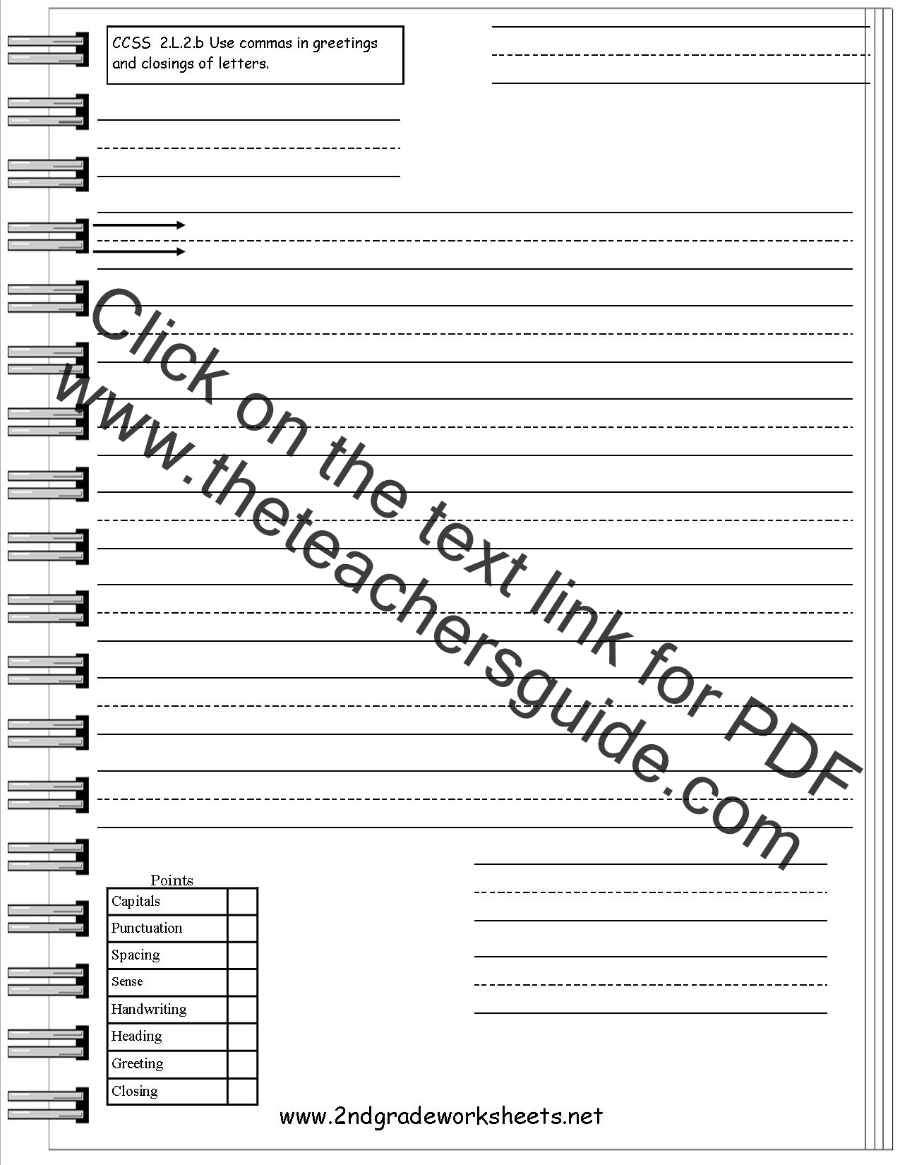 Worksheets 2nd Grade Writing Worksheets Free Printable letters and parts of a letter worksheet friendly forms