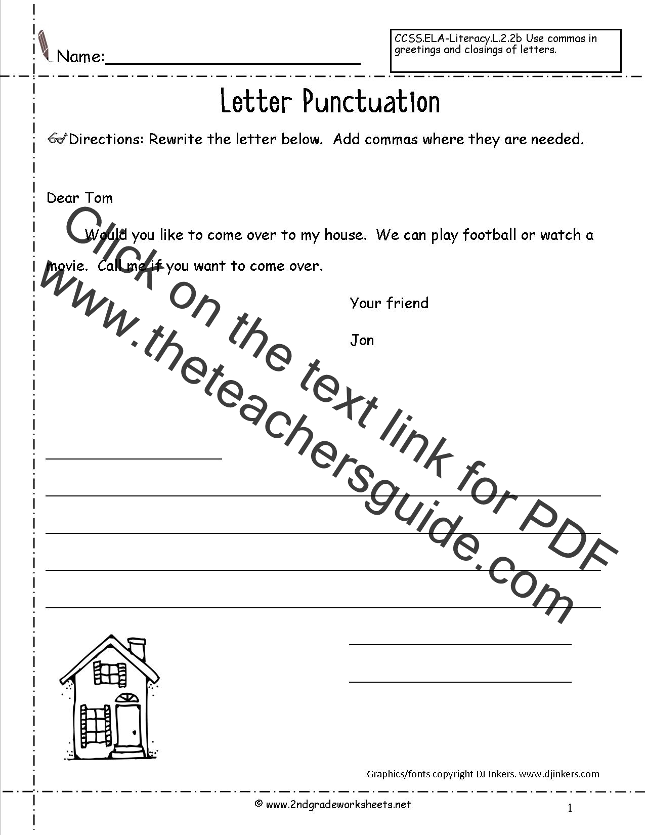 Letters and Parts of a Letter Worksheet – Using Commas Worksheet